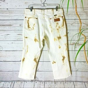 Vtg Wrangler Jeans Custom Bleached Distressed Crop